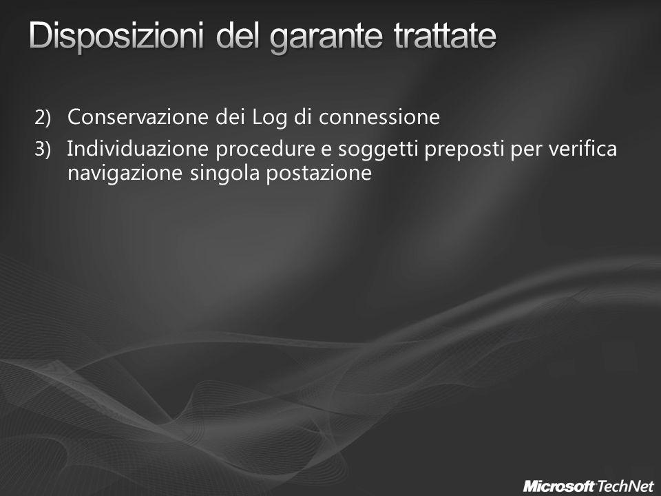 2) Conservazione dei Log di connessione 3) Individuazione procedure e soggetti preposti per verifica navigazione singola postazione