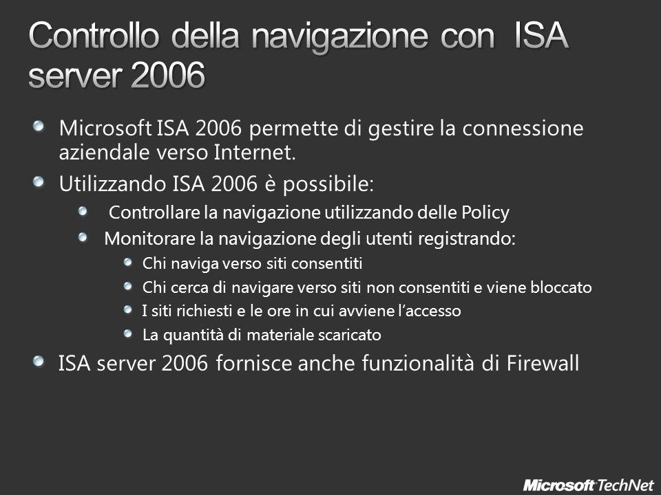 Microsoft ISA 2006 permette di gestire la connessione aziendale verso Internet.