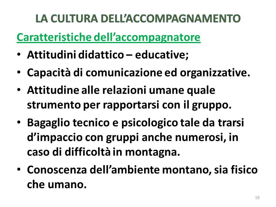 Caratteristiche dellaccompagnatore Attitudini didattico – educative; Capacità di comunicazione ed organizzative.