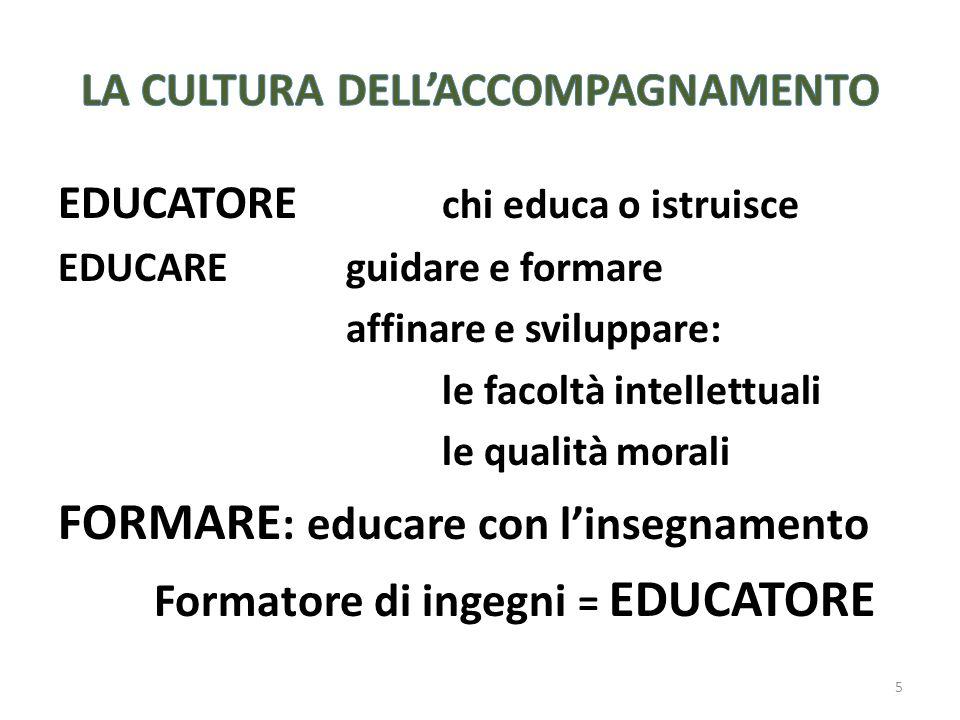 EDUCATORE chi educa o istruisce EDUCAREguidare e formare affinare e sviluppare: le facoltà intellettuali le qualità morali FORMARE : educare con linsegnamento Formatore di ingegni = EDUCATORE 5