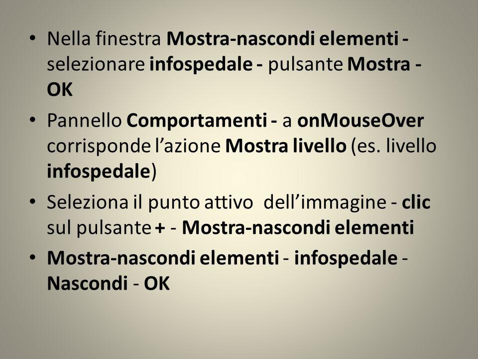 Nella finestra Mostra-nascondi elementi - selezionare infospedale - pulsante Mostra - OK Pannello Comportamenti - a onMouseOver corrisponde lazione Mostra livello (es.