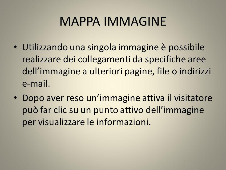 MAPPA IMMAGINE Utilizzando una singola immagine è possibile realizzare dei collegamenti da specifiche aree dellimmagine a ulteriori pagine, file o indirizzi e-mail.
