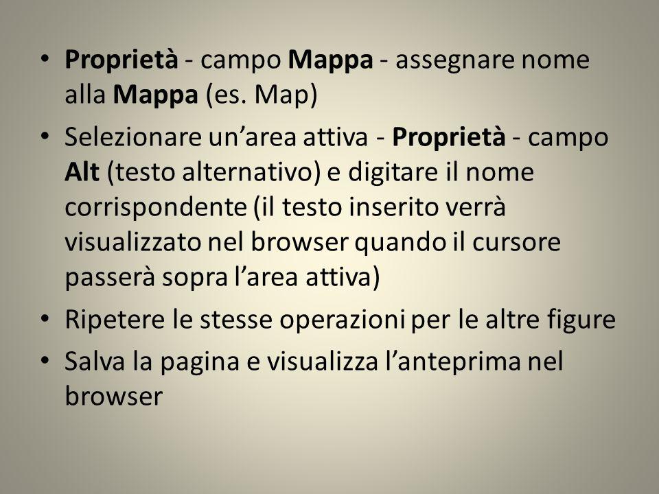 Proprietà - campo Mappa - assegnare nome alla Mappa (es.
