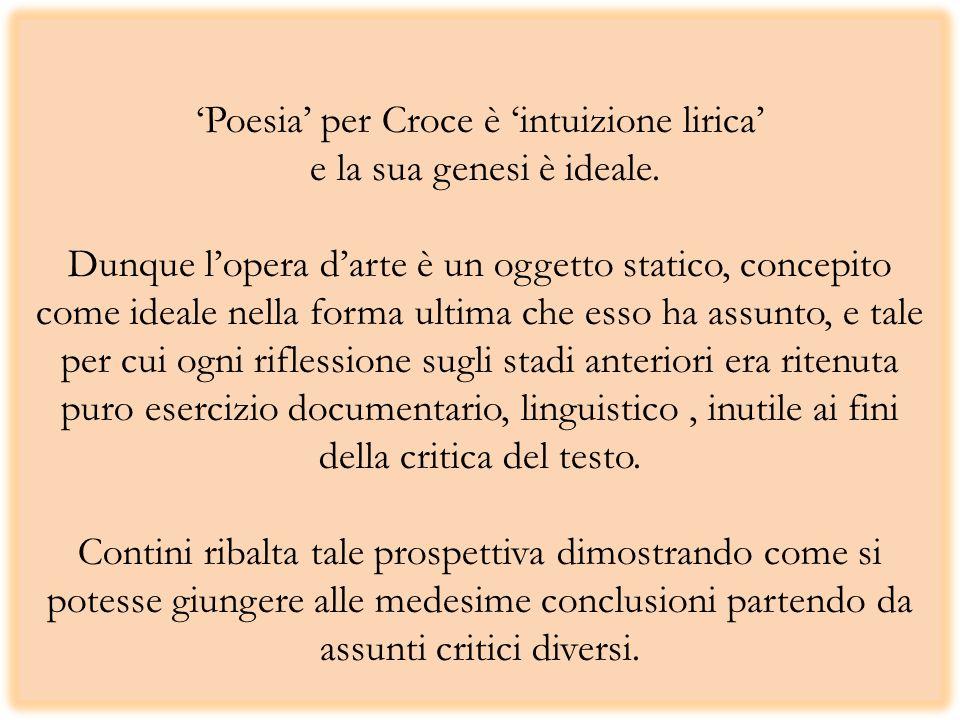 Poesia per Croce è intuizione lirica e la sua genesi è ideale. Dunque lopera darte è un oggetto statico, concepito come ideale nella forma ultima che