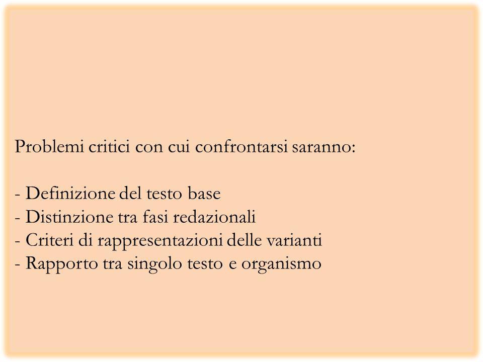 Problemi critici con cui confrontarsi saranno: - Definizione del testo base - Distinzione tra fasi redazionali - Criteri di rappresentazioni delle varianti - Rapporto tra singolo testo e organismo