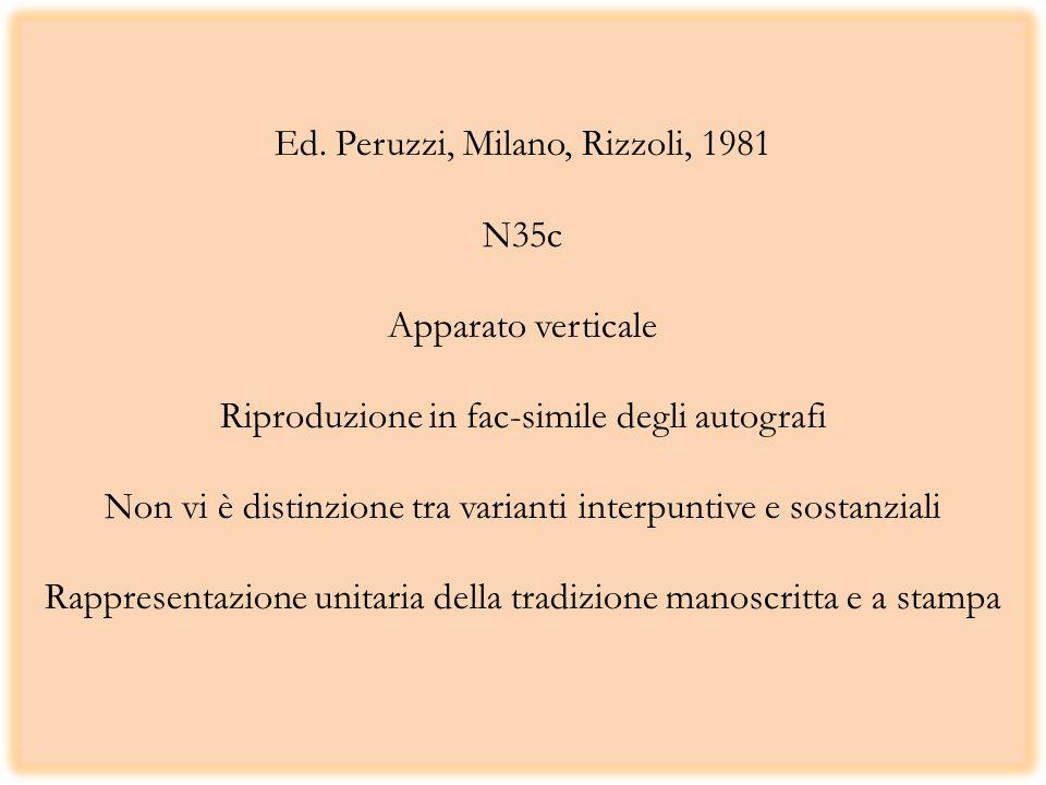 Ed. Peruzzi, Milano, Rizzoli, 1981 N35c Apparato verticale Riproduzione in fac-simile degli autografi Non vi è distinzione tra varianti interpuntive e