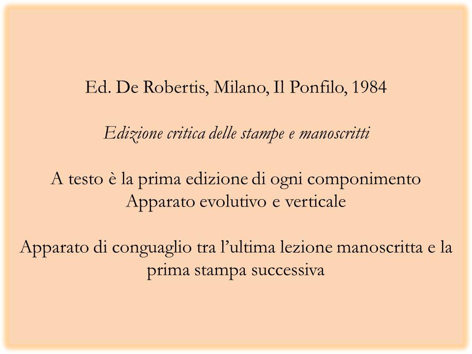 Ed. De Robertis, Milano, Il Ponfilo, 1984 Edizione critica delle stampe e manoscritti A testo è la prima edizione di ogni componimento Apparato evolut