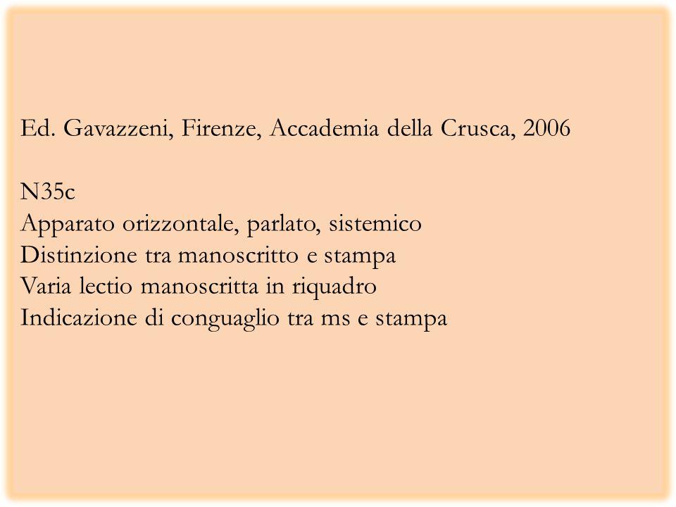 Ed. Gavazzeni, Firenze, Accademia della Crusca, 2006 N35c Apparato orizzontale, parlato, sistemico Distinzione tra manoscritto e stampa Varia lectio m