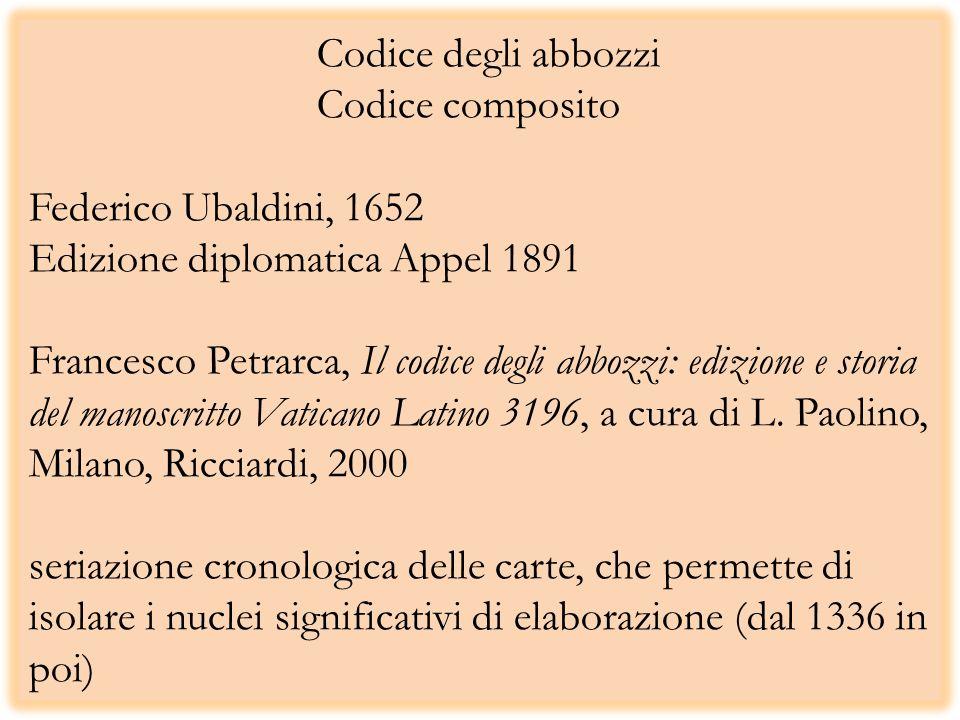 Codice degli abbozzi Codice composito Federico Ubaldini, 1652 Edizione diplomatica Appel 1891 Francesco Petrarca, Il codice degli abbozzi: edizione e