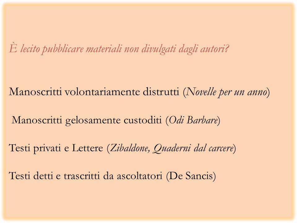 È lecito pubblicare materiali non divulgati dagli autori.