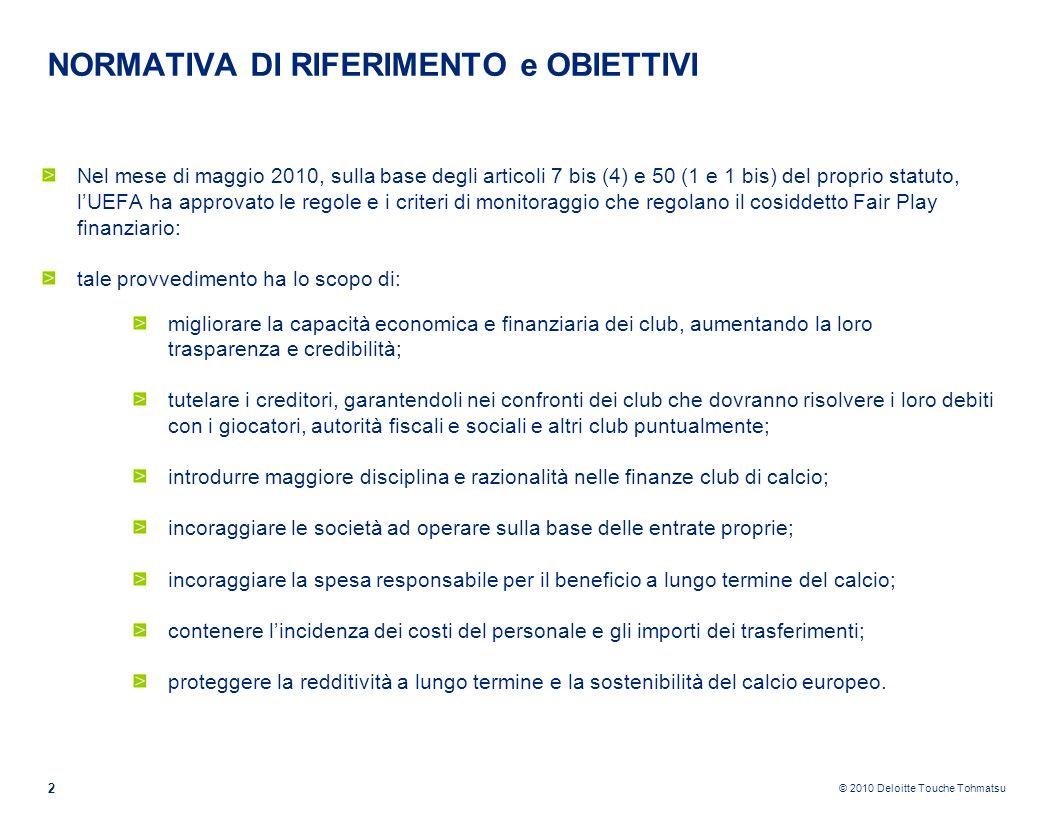 © 2010 Deloitte Touche Tohmatsu NORMATIVA DI RIFERIMENTO e OBIETTIVI Lartt.