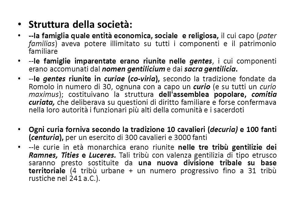 Struttura della società: --la famiglia quale entità economica, sociale e religiosa, il cui capo (pater familias) aveva potere illimitato su tutti i co