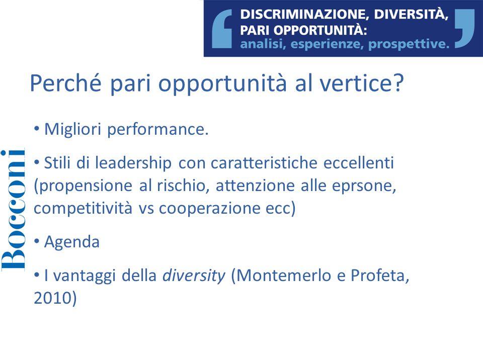 Migliori performance. Stili di leadership con caratteristiche eccellenti (propensione al rischio, attenzione alle eprsone, competitività vs cooperazio