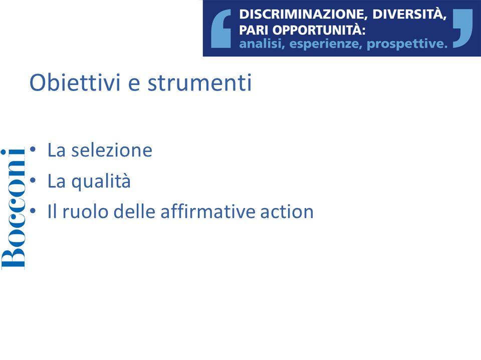 La selezione La qualità Il ruolo delle affirmative action Obiettivi e strumenti