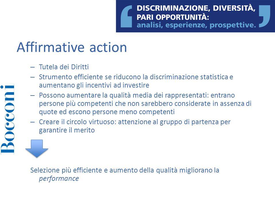 – Tutela dei Diritti – Strumento efficiente se riducono la discriminazione statistica e aumentano gli incentivi ad investire – Possono aumentare la qu