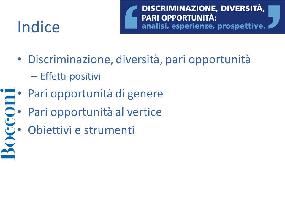 Discriminazione, diversità, pari opportunità – Uguaglianza di accesso – Uguaglianza di carriere e presenza al vertice Aumenta il PIL, crescita, benessere, sviluppo