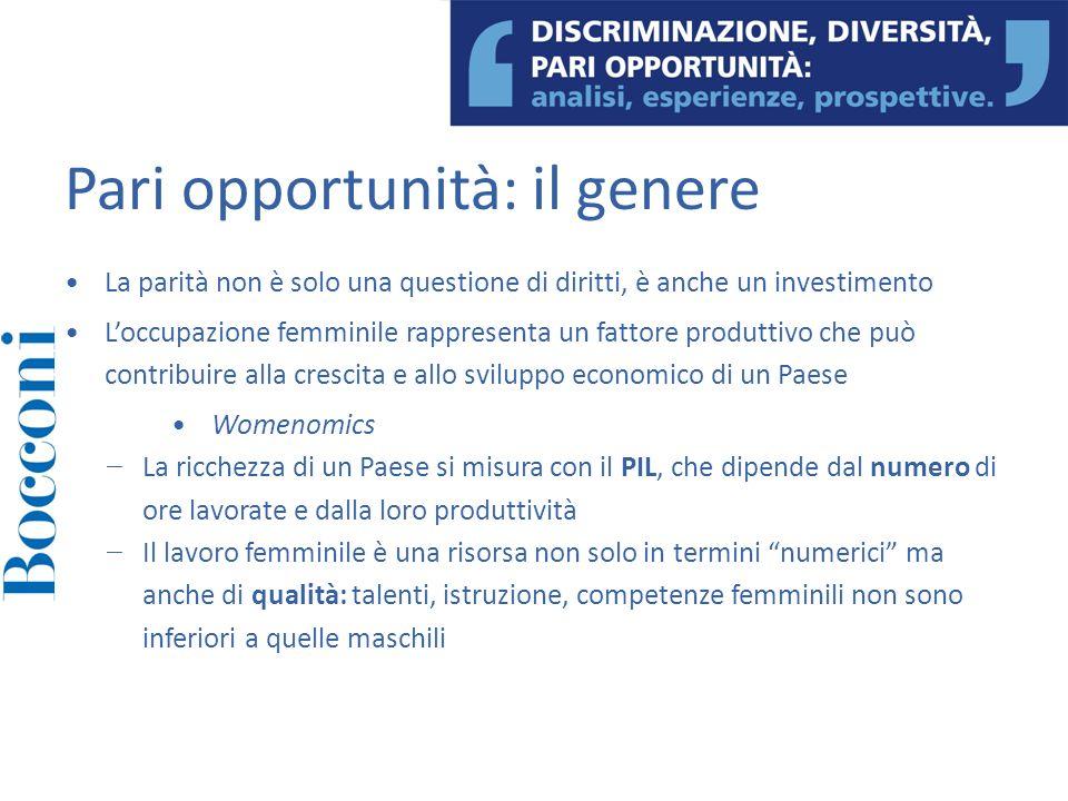 Pari opportunità: il genere La parità non è solo una questione di diritti, è anche un investimento Loccupazione femminile rappresenta un fattore produ