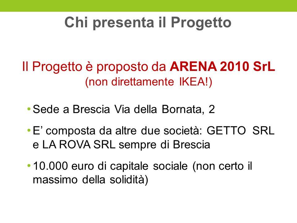 Chi presenta il Progetto Il Progetto è proposto da ARENA 2010 SrL (non direttamente IKEA!) Sede a Brescia Via della Bornata, 2 E composta da altre due società: GETTO SRL e LA ROVA SRL sempre di Brescia 10.000 euro di capitale sociale (non certo il massimo della solidità)