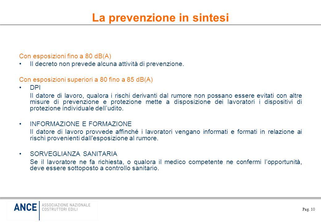 Pag. 10 La prevenzione in sintesi Con esposizioni fino a 80 dB(A) Il decreto non prevede alcuna attività di prevenzione. Con esposizioni superiori a 8