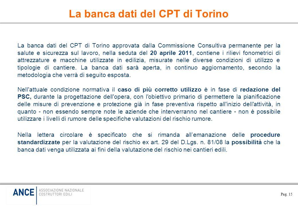 Pag. 15 La banca dati del CPT di Torino La banca dati del CPT di Torino approvata dalla Commissione Consultiva permanente per la salute e sicurezza su