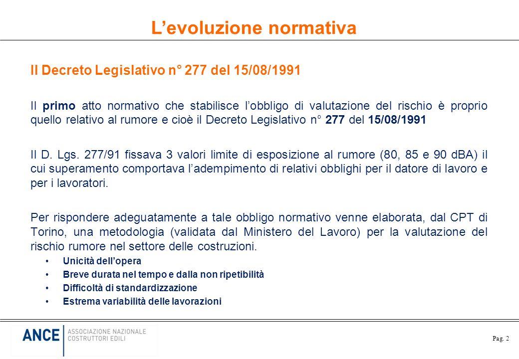 Pag. 2 Il Decreto Legislativo n° 277 del 15/08/1991 Il primo atto normativo che stabilisce lobbligo di valutazione del rischio è proprio quello relati
