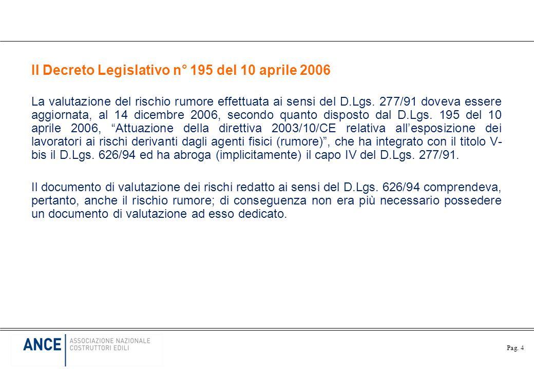 Pag. 4 Il Decreto Legislativo n° 195 del 10 aprile 2006 La valutazione del rischio rumore effettuata ai sensi del D.Lgs. 277/91 doveva essere aggiorna