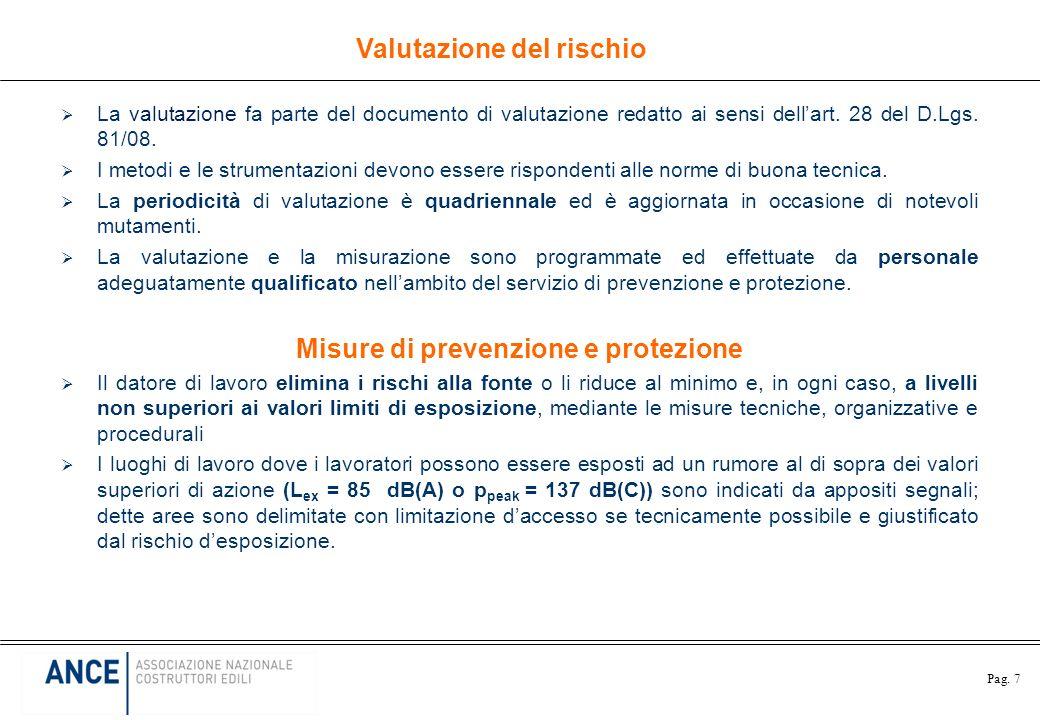 Pag. 7 La valutazione fa parte del documento di valutazione redatto ai sensi dellart. 28 del D.Lgs. 81/08. I metodi e le strumentazioni devono essere