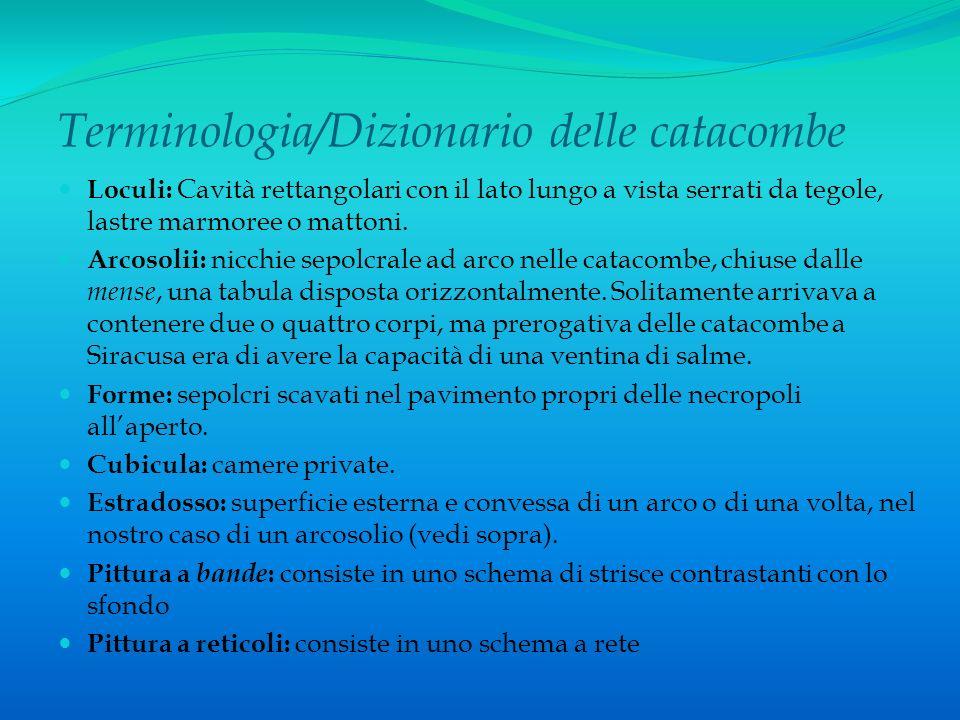 Terminologia/Dizionario delle catacombe Loculi: Cavità rettangolari con il lato lungo a vista serrati da tegole, lastre marmoree o mattoni. Arcosolii: