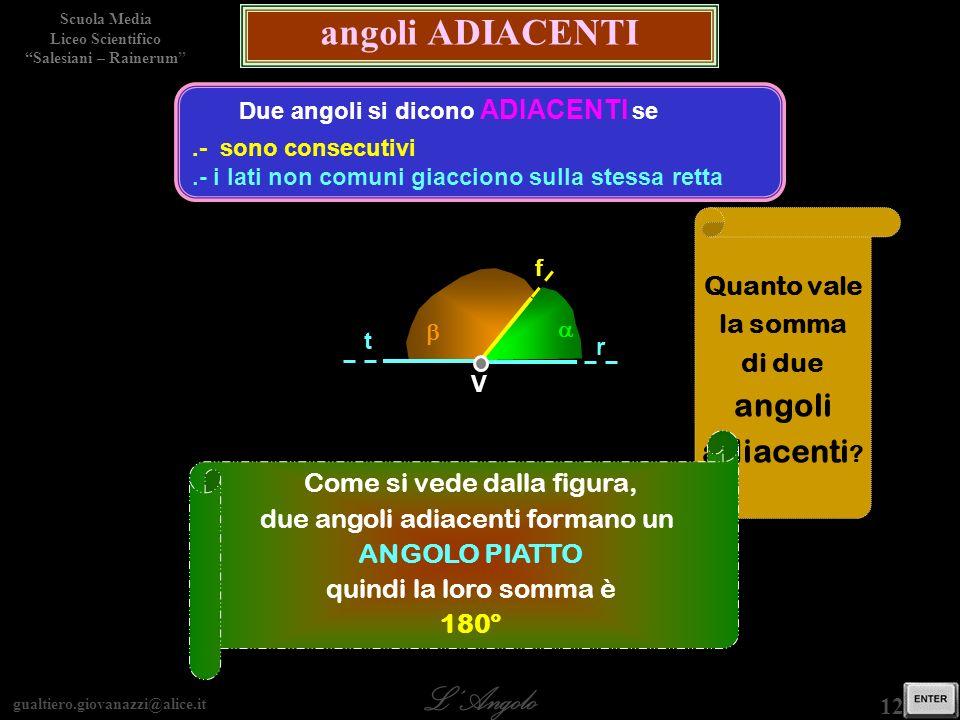 gualtiero.giovanazzi@alice.it LAngolo Scuola Media Liceo Scientifico Salesiani – Rainerum 12 / 29 angoli ADIACENTI Due angoli si dicono ADIACENTI se.-