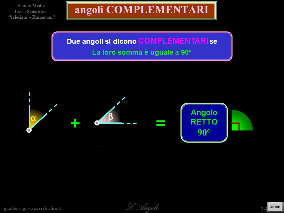 gualtiero.giovanazzi@alice.it LAngolo Scuola Media Liceo Scientifico Salesiani – Rainerum 14 / 29 angoli COMPLEMENTARI Due angoli si dicono COMPLEMENT