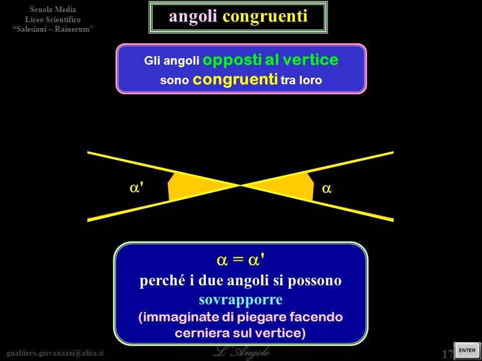gualtiero.giovanazzi@alice.it LAngolo Scuola Media Liceo Scientifico Salesiani – Rainerum 17 / 29 angoli congruenti Gli angoli opposti al vertice sono