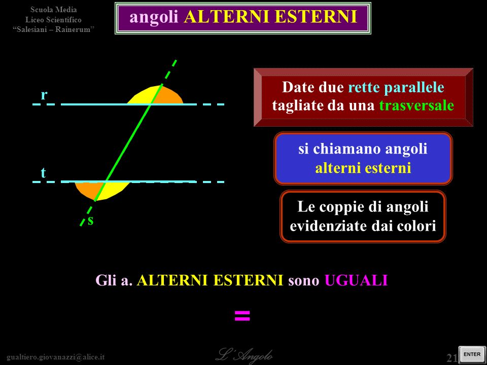 gualtiero.giovanazzi@alice.it LAngolo Scuola Media Liceo Scientifico Salesiani – Rainerum 21 / 29 angoli ALTERNI ESTERNI si chiamano angoli alterni es