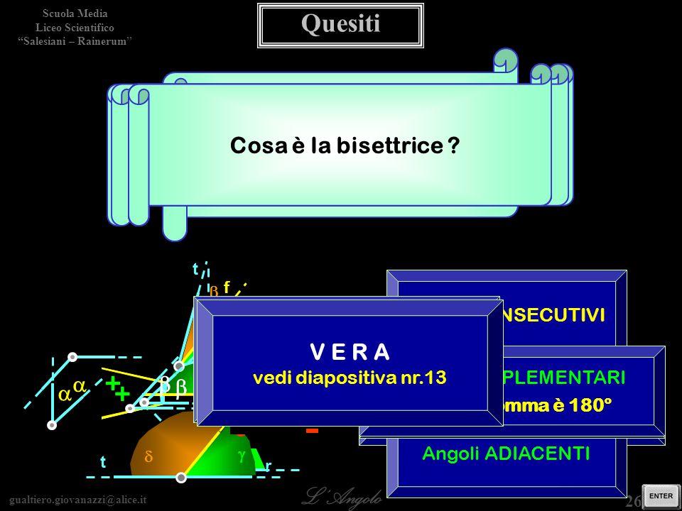 gualtiero.giovanazzi@alice.it LAngolo Scuola Media Liceo Scientifico Salesiani – Rainerum 26 / 29 Come sono detti gli angoli che soddisfano La relazione rappresentata in figura .