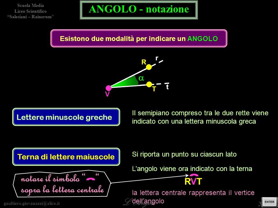 gualtiero.giovanazzi@alice.it LAngolo Scuola Media Liceo Scientifico Salesiani – Rainerum 3 / 29 ANGOLO - notazione Esistono due modalità per indicare