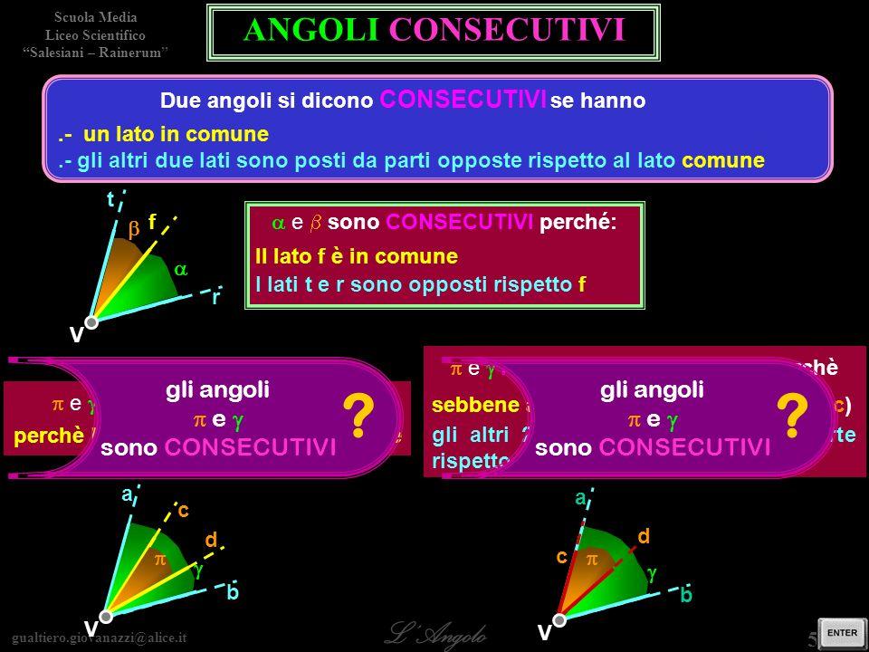 gualtiero.giovanazzi@alice.it LAngolo Scuola Media Liceo Scientifico Salesiani – Rainerum 6 / 29 gli angoli e sono ADIACENTI .