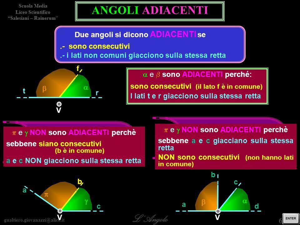 gualtiero.giovanazzi@alice.it LAngolo Scuola Media Liceo Scientifico Salesiani – Rainerum 6 / 29 gli angoli e sono ADIACENTI ? gli angoli e sono ADIAC