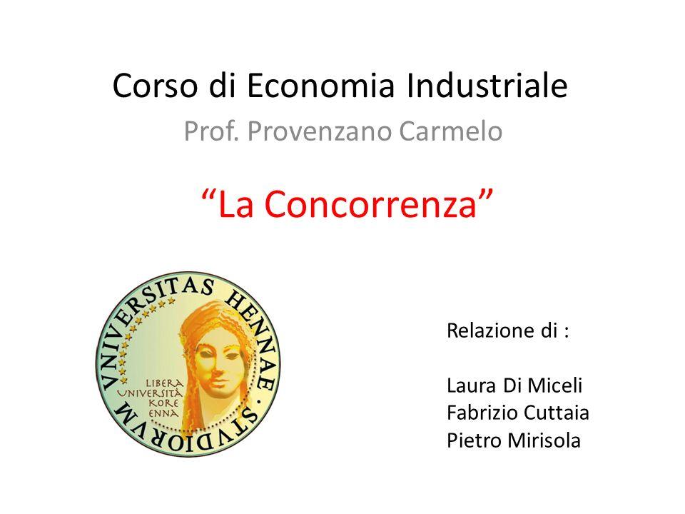 Corso di Economia Industriale Prof. Provenzano Carmelo Relazione di : Laura Di Miceli Fabrizio Cuttaia Pietro Mirisola La Concorrenza