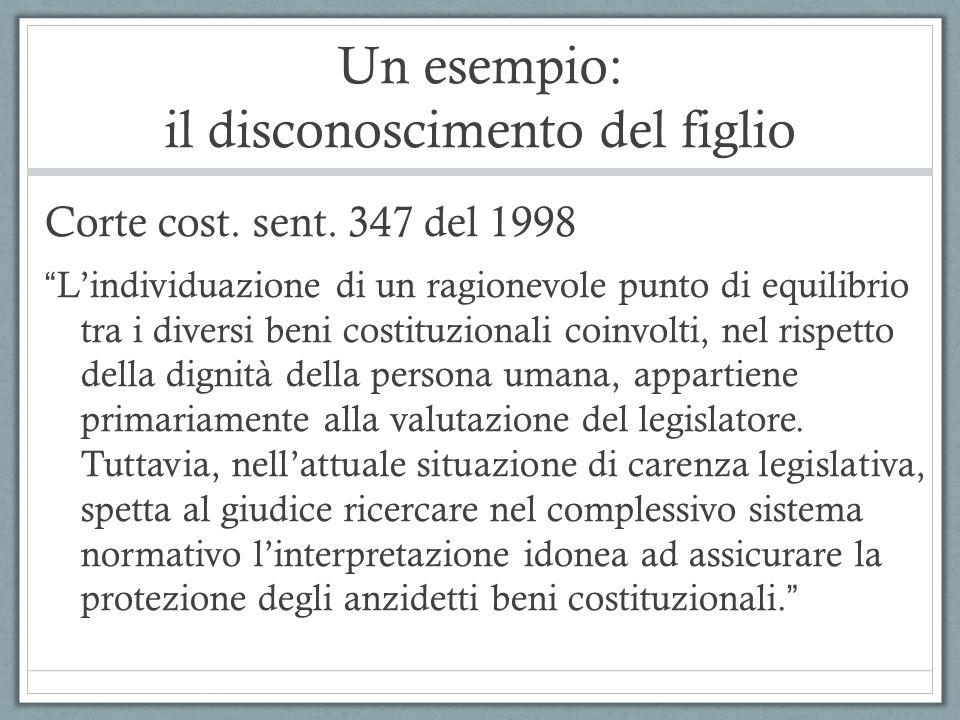 Un esempio: il disconoscimento del figlio Corte cost. sent. 347 del 1998 Lindividuazione di un ragionevole punto di equilibrio tra i diversi beni cost