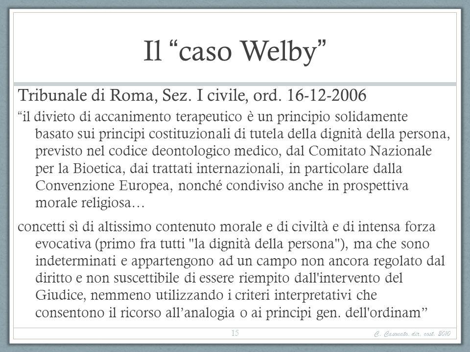 Il caso Welby Tribunale di Roma, Sez. I civile, ord. 16-12-2006 il divieto di accanimento terapeutico è un principio solidamente basato sui principi c