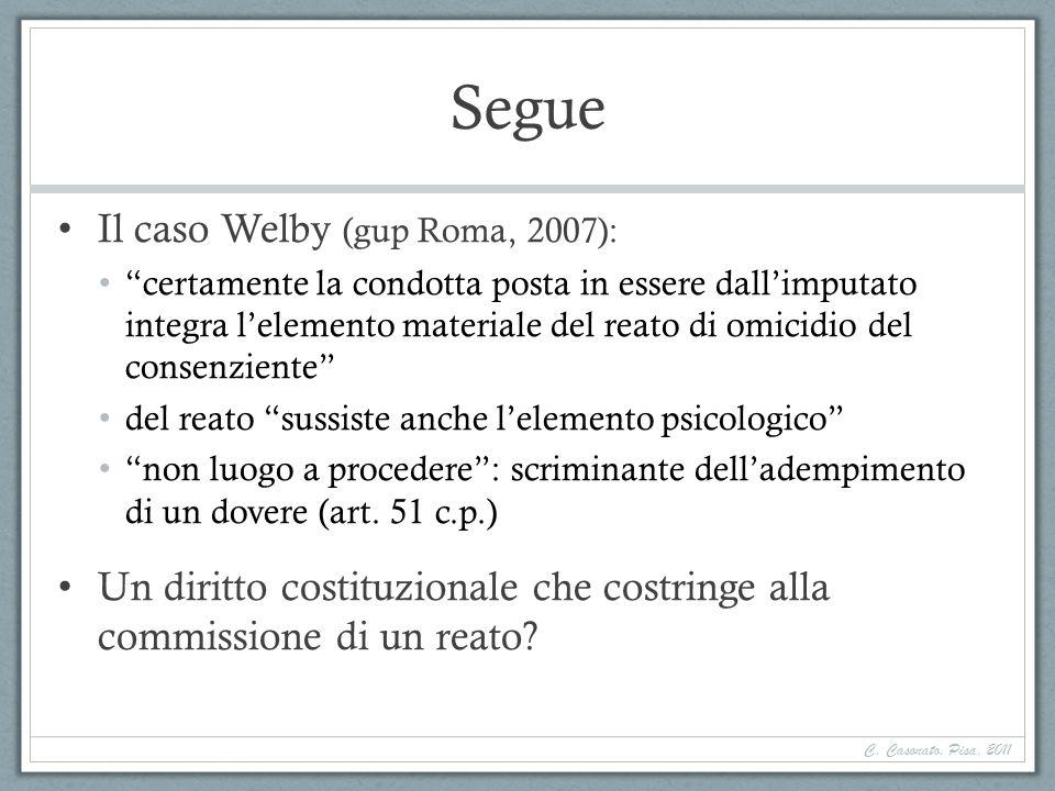 Segue Il caso Welby (gup Roma, 2007): certamente la condotta posta in essere dallimputato integra lelemento materiale del reato di omicidio del consen