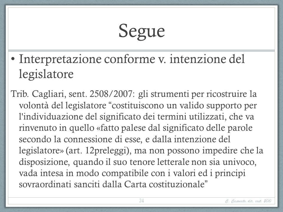 Segue Interpretazione conforme v. intenzione del legislatore Trib. Cagliari, sent. 2508/2007: gli strumenti per ricostruire la volontà del legislatore