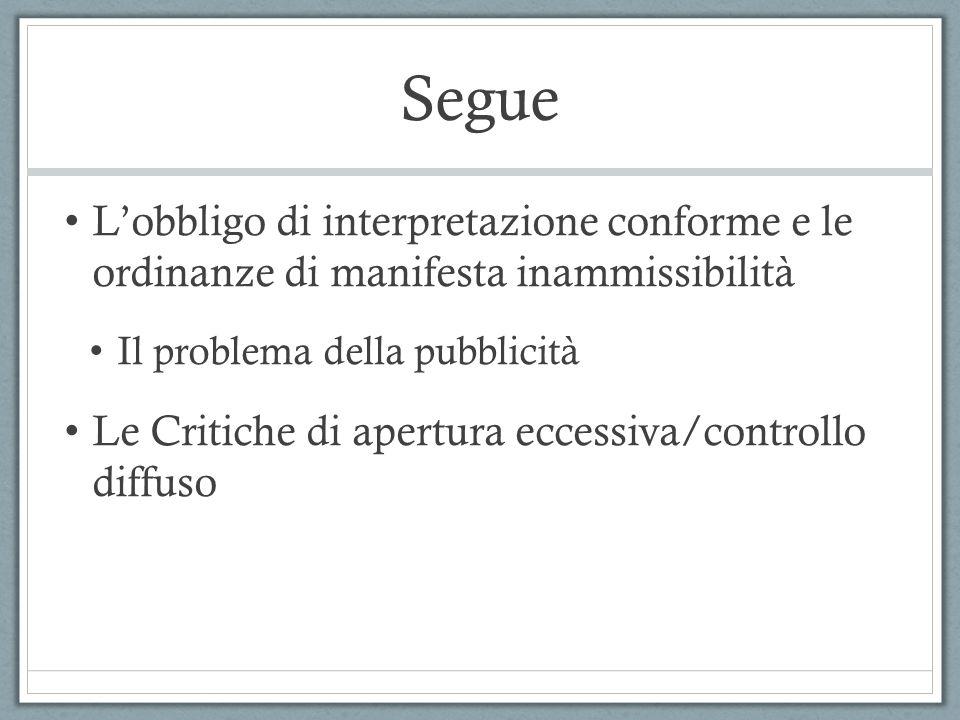 Segue Lobbligo di interpretazione conforme e le ordinanze di manifesta inammissibilità Il problema della pubblicità Le Critiche di apertura eccessiva/