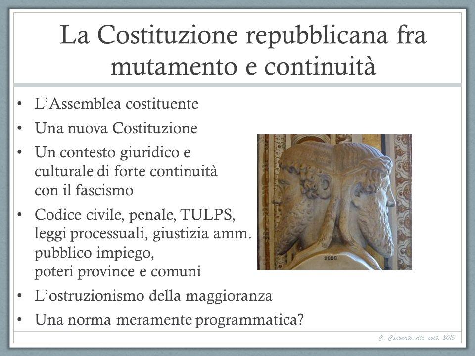 La Costituzione repubblicana fra mutamento e continuità LAssemblea costituente Una nuova Costituzione Un contesto giuridico e culturale di forte conti