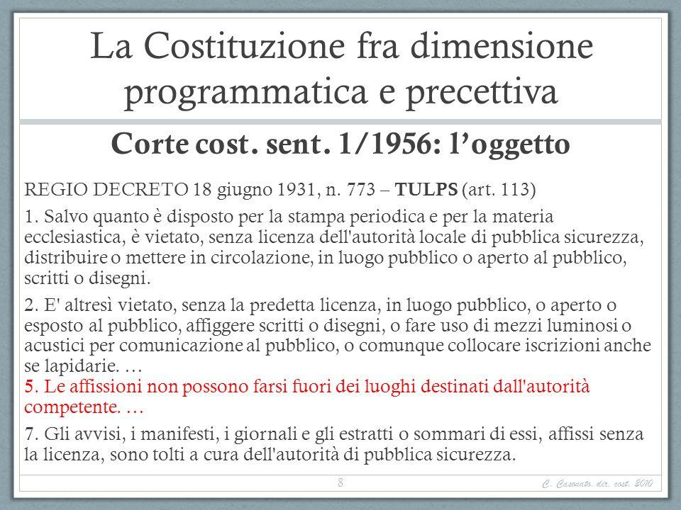La Costituzione fra dimensione programmatica e precettiva Corte cost. sent. 1/1956: loggetto REGIO DECRETO 18 giugno 1931, n. 773 – TULPS (art. 113) 1