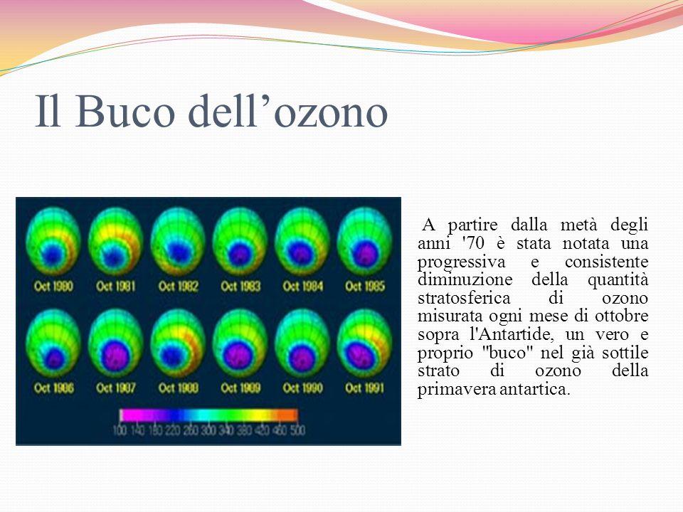 A partire dalla metà degli anni '70 è stata notata una progressiva e consistente diminuzione della quantità stratosferica di ozono misurata ogni mese