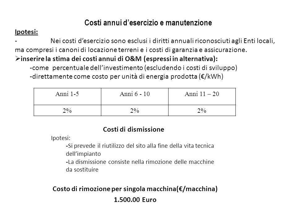 Costi annui desercizio e manutenzione Ipotesi: -Nei costi desercizio sono esclusi i diritti annuali riconosciuti agli Enti locali, ma compresi i canon