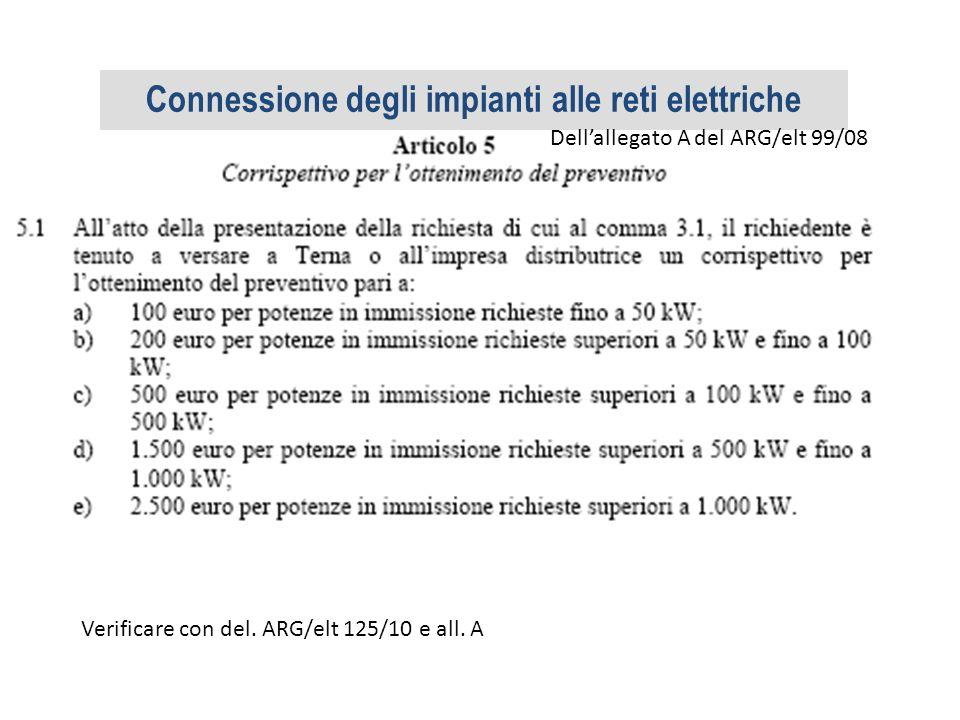 Dellallegato A del ARG/elt 99/08 Verificare con del. ARG/elt 125/10 e all. A