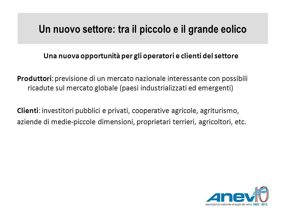 Un nuovo settore: tra il piccolo e il grande eolico Una nuova opportunità per gli operatori e clienti del settore Produttori: previsione di un mercato