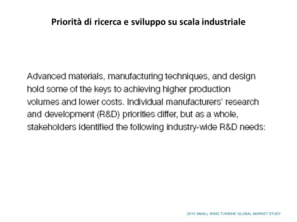Priorità di ricerca e sviluppo su scala industriale