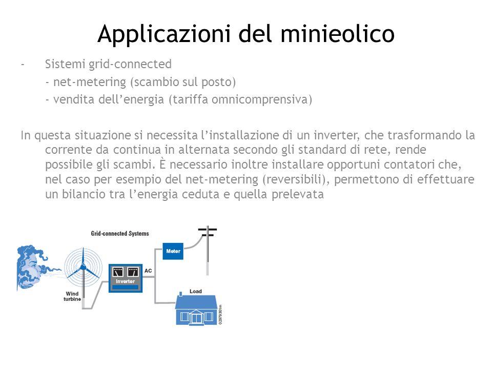 Applicazioni del minieolico -Sistemi grid-connected - net-metering (scambio sul posto) - vendita dellenergia (tariffa omnicomprensiva) In questa situa